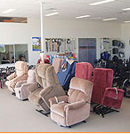 Lift and recline chairs in showroom